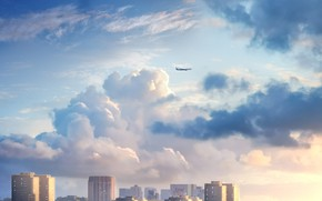 Picture the sky, clouds, the city, the plane