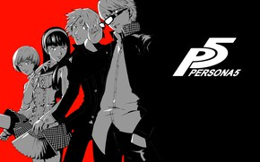 Picture white, red, black, characters, Person 5, Persona 5