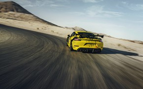 Picture coupe, speed, Porsche, turn, Cayman, 718, 2019, black-yellow, GT4 Clubsport