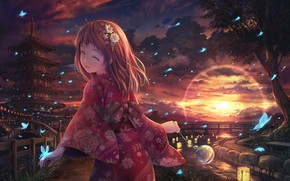 Picture girl, butterfly, sunset, kimono, Soraizumi