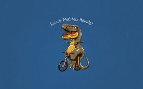 Wallpaper Minimalism, Dinosaur, Bike, Art, T-Rex, Tyrannosaurus, Rex, by Vincenttrinidad, Vincenttrinidad, No hands, Look Ma! No ...