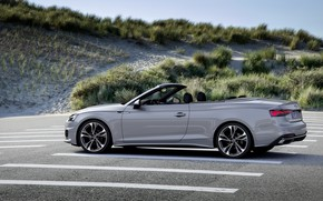 Picture sand, grass, grey, Audi, convertible, Audi A5, A5, 2019, A5 Cabriolet
