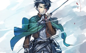 Picture blood, blade, Attack Of The Titans, Shingeki No Kyojin, The Invasion Of The Giants, Levi …