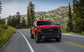 Picture red, Chevrolet, pickup, Silverado, Z71, on the road, Trail Boss, 2019, Silverado LT