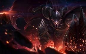 Picture sword, armor, horns, knight, League of Legends, League Of Legends, Pantheon