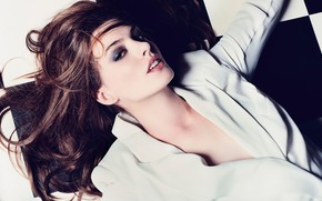 Picture girl, light, pose, photo, hair, makeup, actress, beauty, Anne Hathaway, It