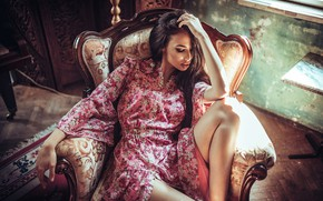 Picture girl, pose, room, chair, dress, brunette, Borislav Georgiev