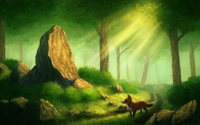 Picture forest, the sun, stone, Fox, by CreeperMan0508