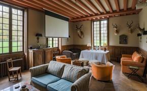 Picture France, interior, living room, Пэи-де-Ко в провинции Нормандия, Шато-де-Жанвиль, hunter room, Château de Janville, комната …