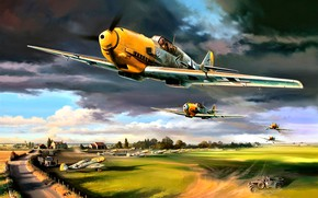 Picture clouds, Trees, Messerschmitt, The airfield, JG26 Schlageter, cars, Bf.109E-4, Adolf Galland