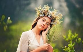 Picture look, girl, sweetheart, wreath, bokeh, Victoria