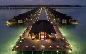 Picture the ocean, the evening, pier, restaurant, The Maldives, resort, Maldives, Paradise Island, Resort & Spa, …