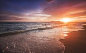 Picture sea, beach, sunset, beach, sea, sunset, seascape, beautiful