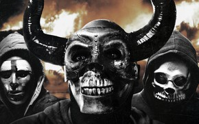 Picture people, fiction, horns, skull, mask, Thriller, poster, horror, hoods, The First Purge, The purge. Beginning