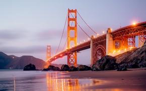 Picture city, lights, USA, beach, twilight, sea, ocean, bridge, sunset, California, rocks, landscapes, San Francisco, fog, …