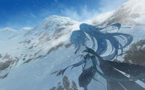 Picture girl, snow, mountains, Honkai Impact 3, Azure Empyrea