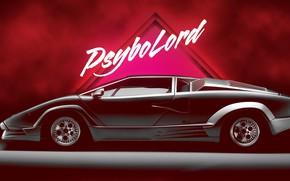 Picture Music, Lamborghini, Machine, Background, Supercar, Countach, Lamborghini Countach, Side view, Synth, Retrowave, Synthwave, New Retro …
