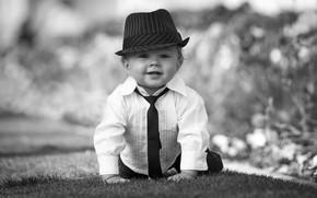 Picture hat, boy, baby, tie, shirt