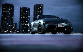 Picture night, the city, coupe, home, Toyota, Supra, the fifth generation, mk5, double, 2019, GR Above, …