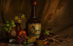 Picture wine, network, apples, bottle, grapes, fruit, still life, burlap