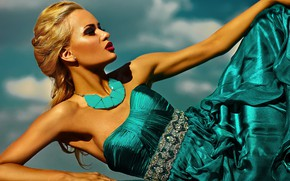 Picture girl, pose, style, model, makeup, dress, hairstyle, blonde, braid, decoration, glamor, Halay Alex