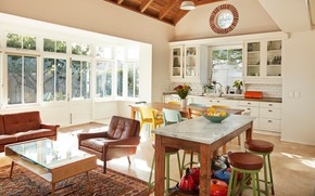 Picture style, retro, interior, kitchen, living room, dining room, mid-century modern