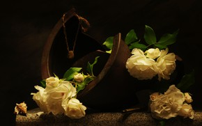 Picture flowers, stone, roses, shell, still life, куриный бог