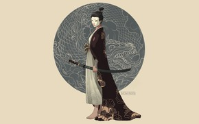 Picture sword, fantasy, minimalism, weapon, katana, dragon, samurai, digital art, artwork, mask, fantasy art, kimono, illustration, ...