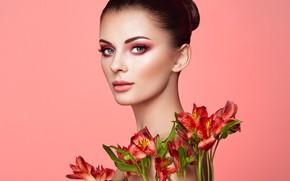 Picture look, flowers, background, model, portrait, makeup, brunette, hairstyle, beauty, Oleg Gekman