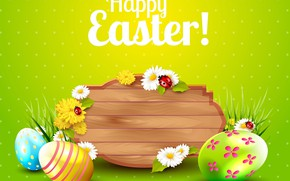 Picture flowers, rendering, holiday, eggs, Easter