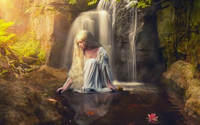 Picture water, girl, pose, stones, mood, waterfall, blonde, long hair, photoart, Sergei Kinds
