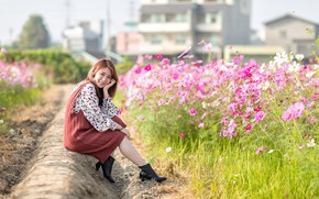 Picture girl, flowers, smile, Asian, bokeh