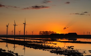 Picture sunset, silhouette, glow, wind power