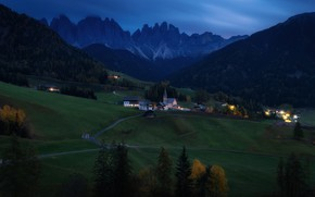 Picture greens, grass, mountains, hills, the building, Austria, valley, Church