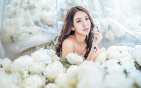 Picture girl, flowers, face, roses, Asian, white