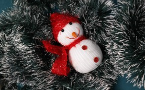Picture winter, holiday, hat, toy, scarf, Christmas, New year, lies, snowman, tinsel, Christmas decorations, новогодние декорации