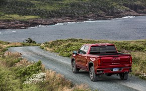 Picture red, coast, pickup, GMC, Sierra, AT4, 2019