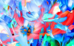 Picture line, flowers, paint, petals