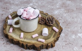 Picture the sweetness, mug, bumps, marshmallows