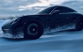 Picture HDR, 911, Drift, Winter, Snow, Game, Carrera S, UHD, Xbox One X, Forza Horizon 4, …