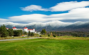 Picture clouds, mountains, USA, New Hampshire, Mount Washington Hotel