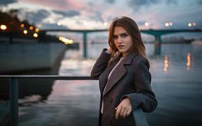 Picture water, girl, the city, the evening, Olya, Coat, Alexander Kurennoy