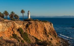 Picture sea, the sky, the sun, stones, palm trees, rocks, coast, lighthouse, CA, USA, Rancho Palos …