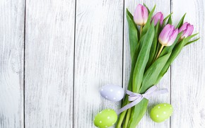 Picture flowers, eggs, colorful, Easter, tulips, happy, wood, pink, flowers, tulips, Easter, eggs, decoration