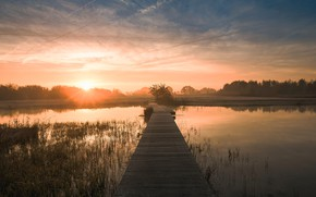 Picture the sky, water, bridge, nature, river, dawn, morning, Netherlands