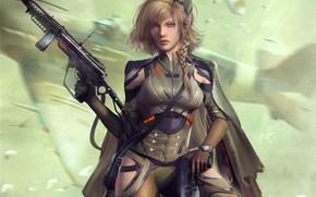 Picture girl, gun, fiction, soldiers, machine, cyberpunk, World War 2