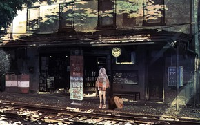 Picture shorts, watch, rails, station, hat, girl, suitcase, one, long hair, shops, summer day, well.d