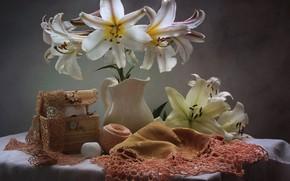 Wallpaper Lily, thread, needlework