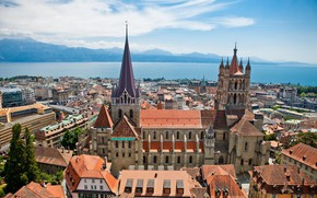 Picture mountains, lake, home, Switzerland, panorama, Cathedral, Lausanne