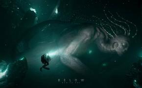 Picture fantasy, underwater, artist, artwork, fantasy art, creature, diver, Ruo Yu Chen